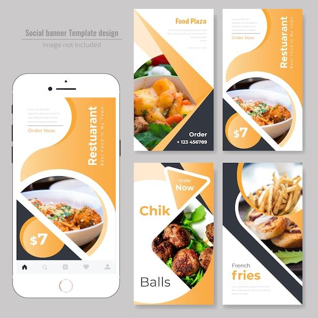 Pancarta social de comida para restaurante. Vector Premium