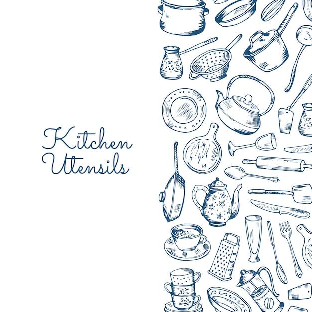 Pancarta con utensilios de cocina con lugar para texto. Vector Premium