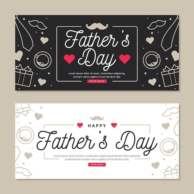 Pancartas del día del padre con corazones Vector Premium