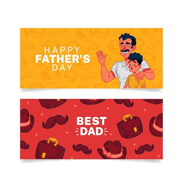 Pancartas del día del padre con papá e hijo vector gratuito