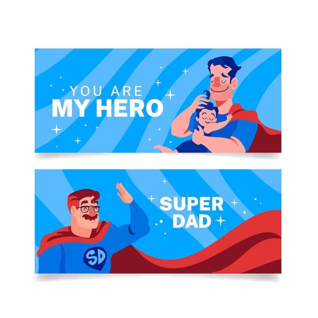 Pancartas del día del padre con papá superhéroe vector gratuito