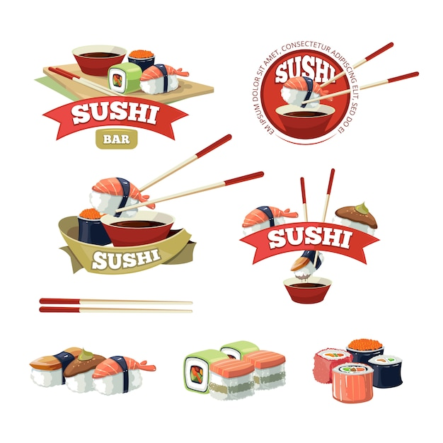 Con pancartas de sushi Vector Premium