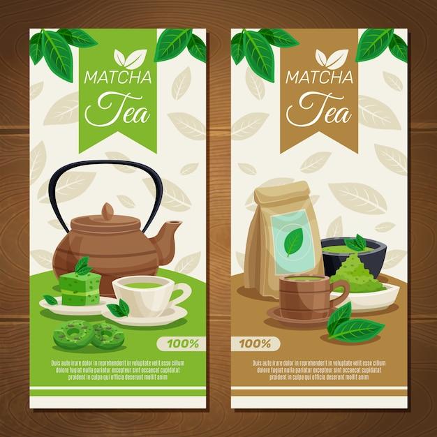 Pancartas verticales de té verde matcha vector gratuito