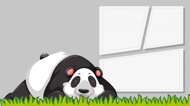 Un panda en banner en blanco vector gratuito