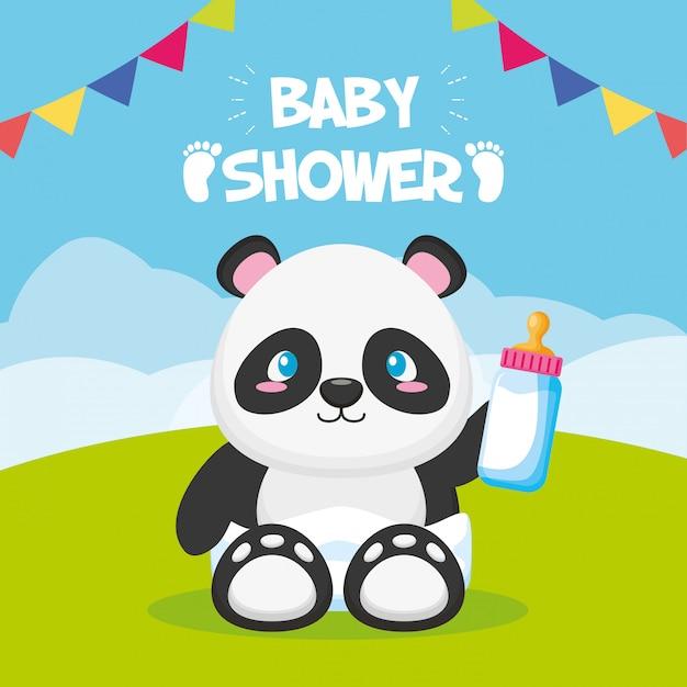 Panda con biberón para tarjeta baby shower vector gratuito