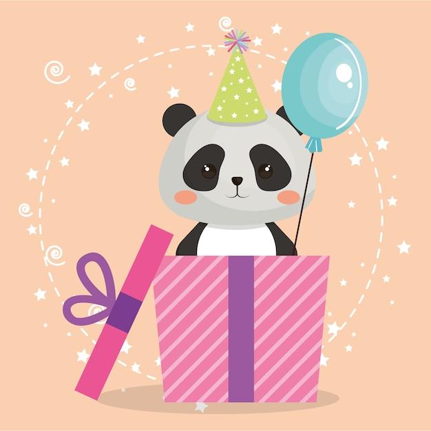 Panda Lindo Del Oso Con La Tarjeta De Cumpleanos Del Kawaii Del
