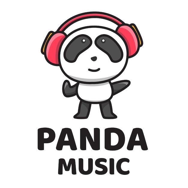 Panda music cute logo template Vector Premium
