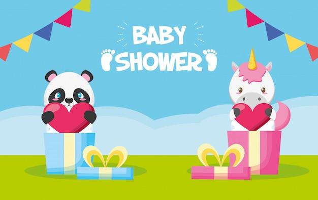Panda y unicornio en cajas de regalo para tarjeta de baby shower vector gratuito