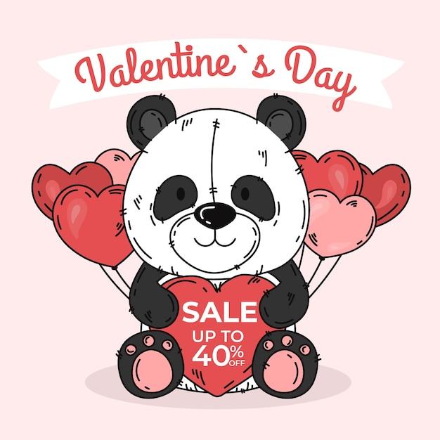 Panda de venta de día de san valentín dibujado a mano vector gratuito