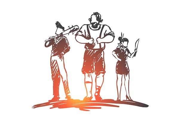 Pandilla, bandidos, criminal, gángster, concepto de arma. dibujado a mano grupo de boceto de concepto de gángsters. Vector Premium