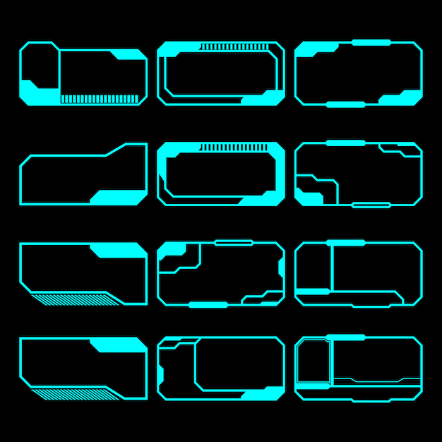 Panel de control de interfaz de conjunto de pantalla de elementos futuristas Vector Premium