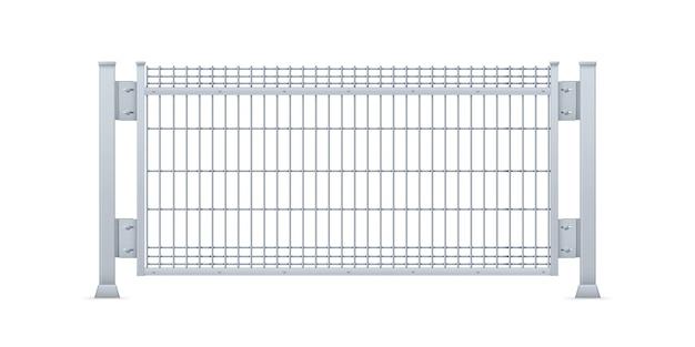 Panel de valla de chapa galvanizada realista. Vector Premium