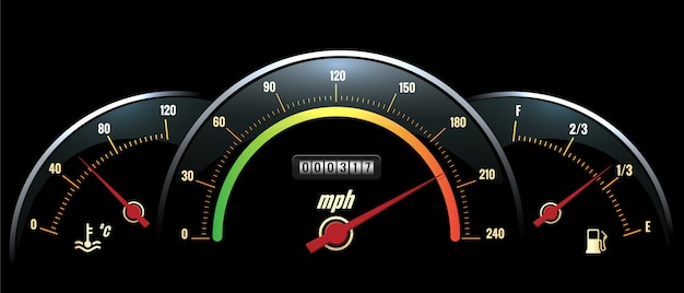 Panel de velocímetro. lectura de temperatura, velocidad y combustible en panel negro con escalas de colores brillantes. vector gratuito