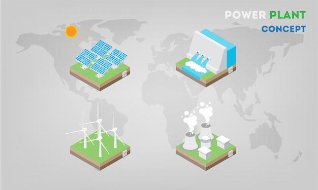 Paneles de la central eléctrica isométricos planos. la energía alternativa moderna. Vector Premium