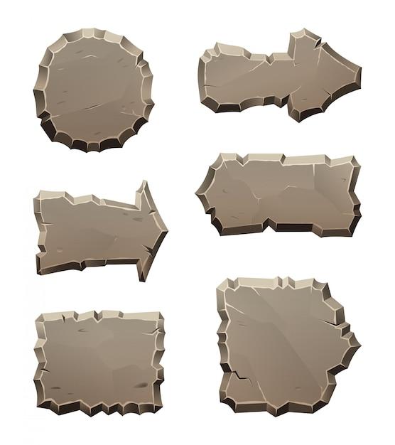Paneles de dirección de movimiento de piedra y bloques aislados en blanco Vector Premium