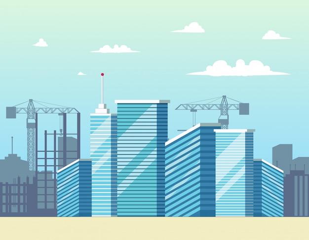 Panorama cityscape city Vector Premium