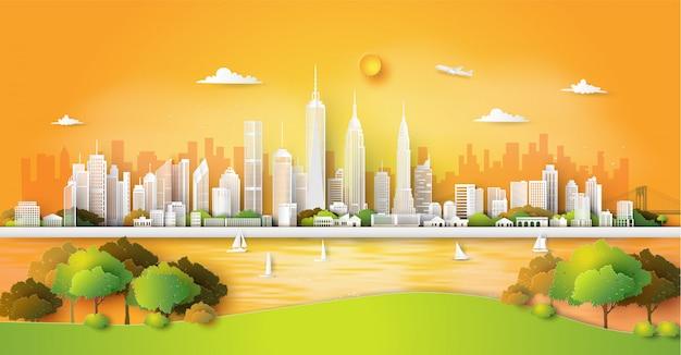 Panorama de la ciudad horizonte Vector Premium