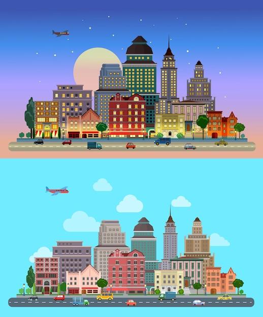 Panorama de la ciudad rascacielos el cielo de fondo día noche vector gratuito