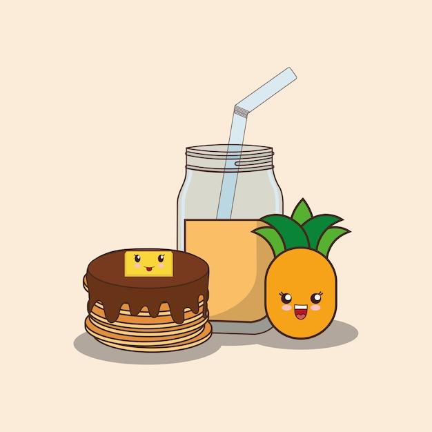 Panqueques kawaii y jugo de piña | Descargar Vectores Premium