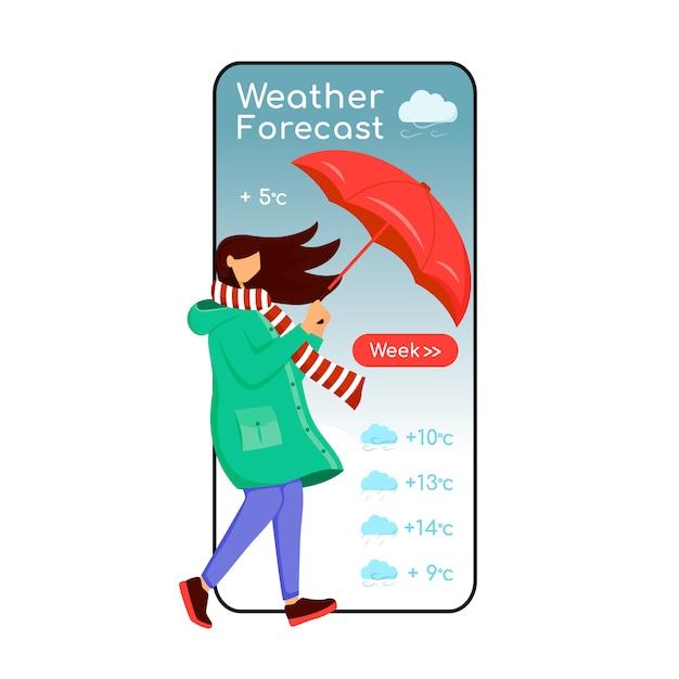 Pantalla de aplicación de teléfono inteligente de dibujos animados de previsión meteorológica. pantalla del teléfono móvil, maqueta de caracteres planos. mujer caucásica en gabardina. mujer con sombrilla. interfaz telefónica de la aplicación de meteorología Vector Premium