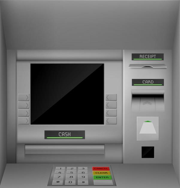 Pantalla de cajero automático, ilustración de monitor de cajero automático vector gratuito