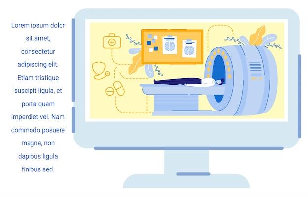 Pantalla de la computadora con el hombre de la imagen con examen de resonancia magnética. Vector Premium
