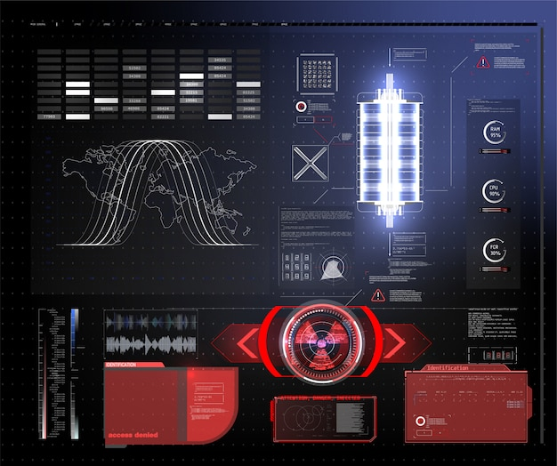 Pantalla hud de tecnología futurista. vista táctica sci-fi vr dislpay. hud ui. pantalla frontal vr futurista. pantalla de tecnología de realidad virtual. Vector Premium