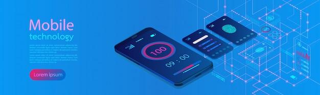 Pantalla de infografía moderna de pantallas móviles. Vector Premium