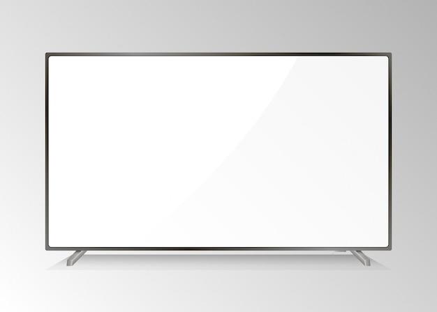 Pantalla lcd tv. televisión moderna. monitor led aislado. inicio de plasma de plasma con pantalla blanca. dispositivos de medios realistas de equipos con alta resolución. presentación del monitor de la computadora. Vector Premium