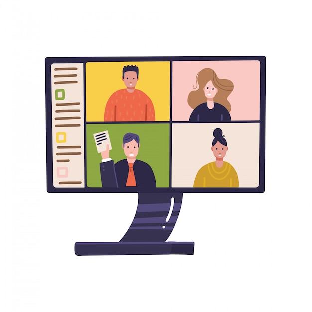 Pantalla de pc con conferencia remota en línea en el monitor con personas que participan en reuniones de negocios desde casa. trabajo en el hogar, autoaislamiento, virus corona de cuarentena, concepto independiente. plano Vector Premium