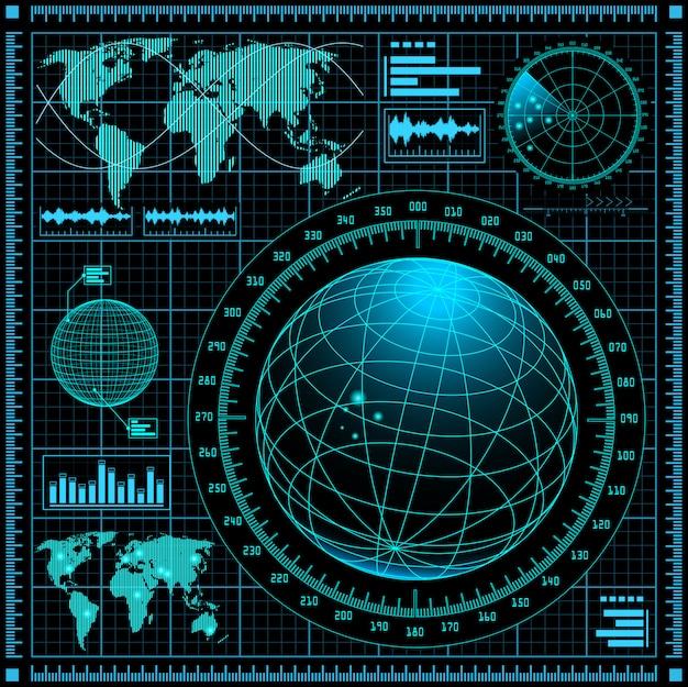 Pantalla de radar con mapa del mundo. Vector Premium