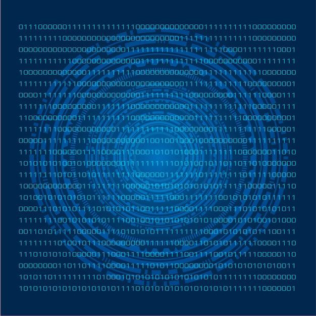 Pantalla táctil azul virtual con sistema numérico binario ...