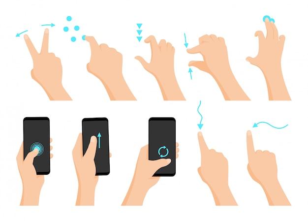 Pantalla táctil gestos con las manos. Vector Premium