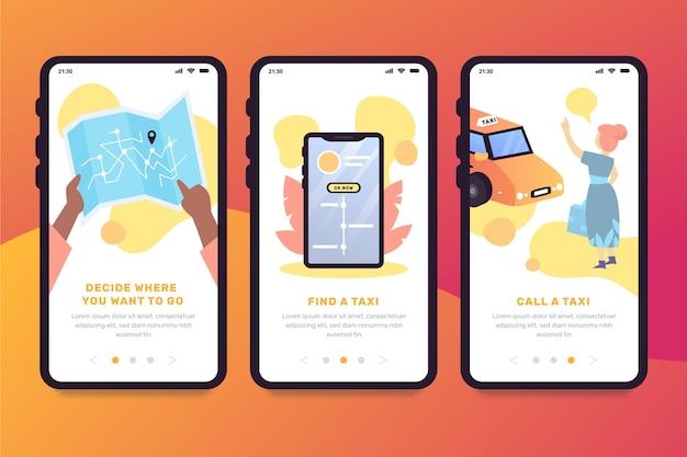 Pantallas de la aplicación de incorporación del servicio de taxi vector gratuito