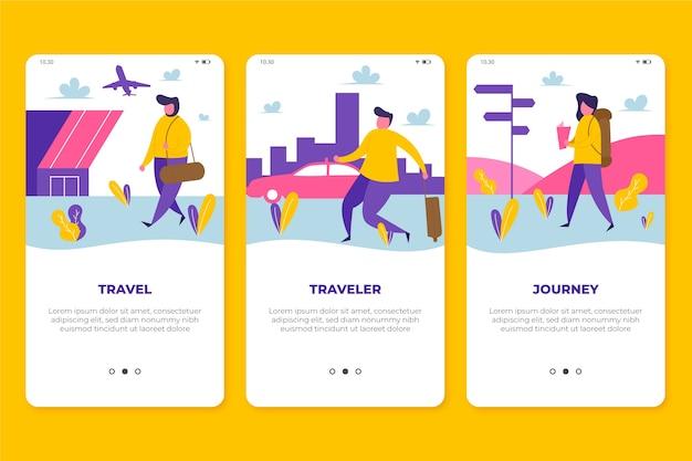 Pantallas de aplicaciones de viaje vector gratuito
