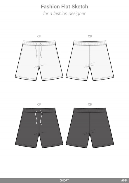 02e6851a4 Pantalones cortos moda vector plano técnico plantilla de dibujo ...