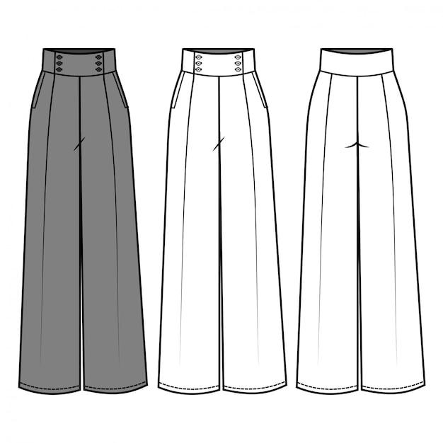 Pantalones Para Damas De Moda Plantilla Plana Vector Premium