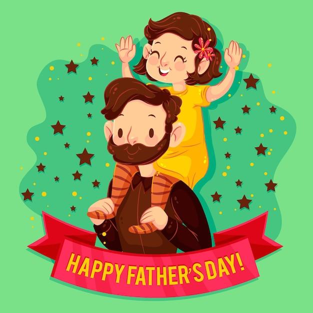 Papá ilustrado sosteniendo a su hija sobre sus hombros vector gratuito