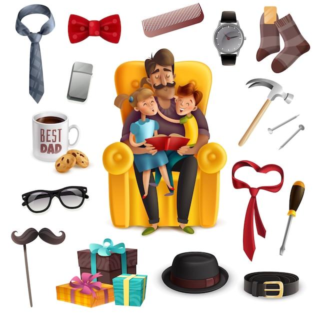 Papá y niños leyendo un libro juntos rodeados de accesorios masculinos vector gratuito