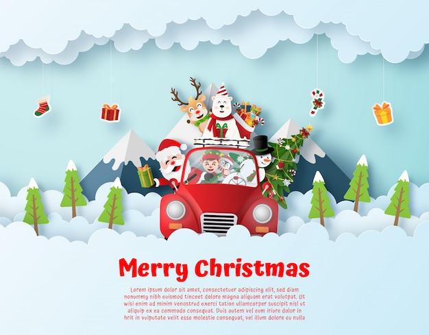 Papá noel y amigos conduciendo autos rojos de navidad Vector Premium