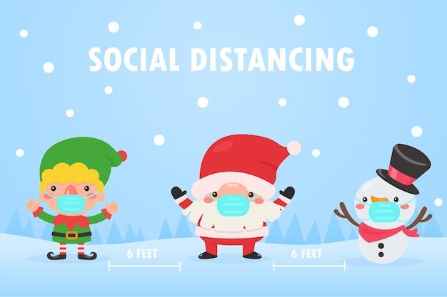 Papá noel, duende y muñeco de nieve con máscaras y salen del espacio social para evitar la corona durante la navidad. Vector Premium