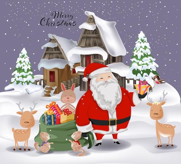 Imagenes De Navidad 2019.Papa Noel Y Familia De Animales En Feliz Navidad 2019