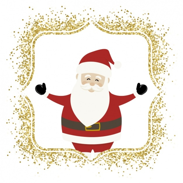 Imagenes Gratis De Papa Noel.Papa Noel Con Un Marco Dorado Descargar Vectores Gratis