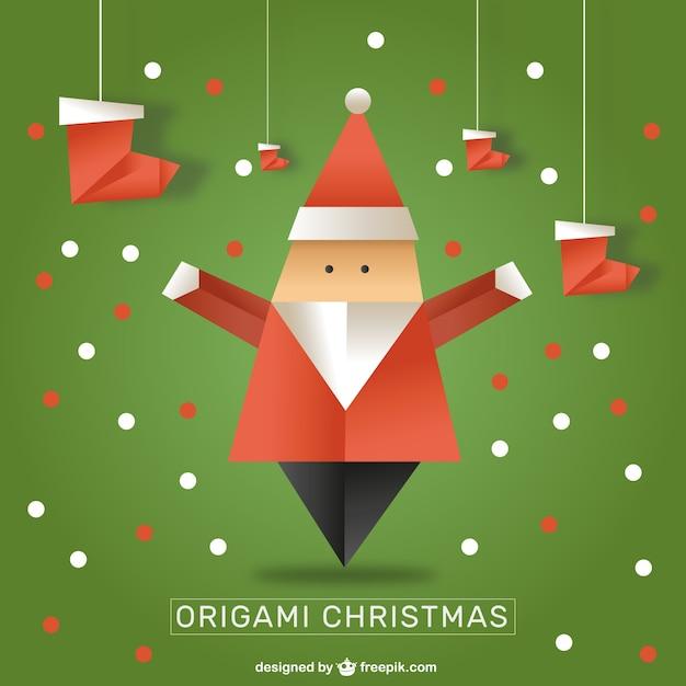 Papa Noel De Origami Descargar Vectores Gratis - Origami-papa-noel