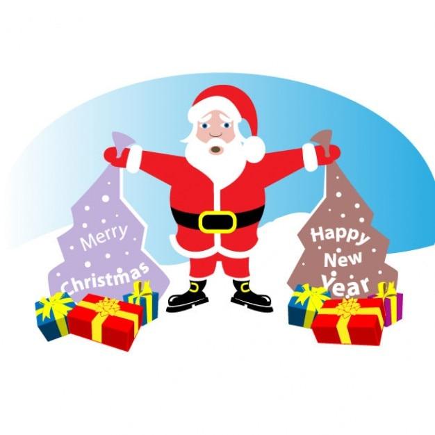 Imagenes De Papa Noel De Navidad.Papa Noel Con Los Regalos De Navidad Descargar Vectores Gratis