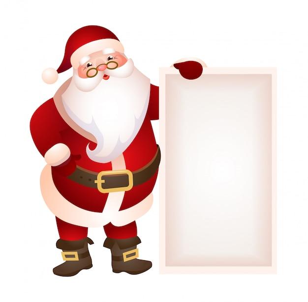 Imagenes Gratis De Papa Noel.Papa Noel Sosteniendo Ilustracion Banner En Blanco