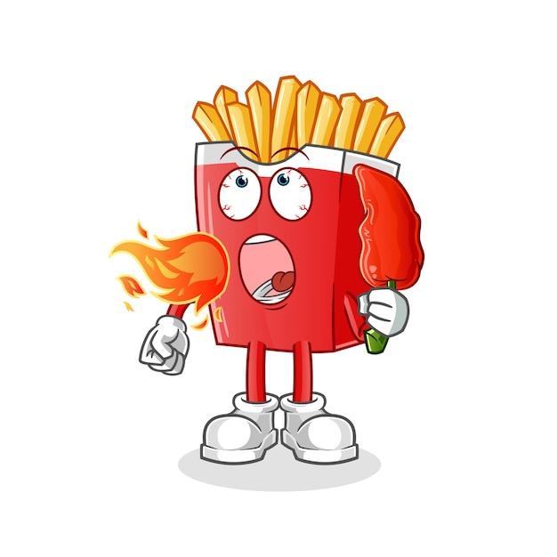 Papas fritas comen mascota chilie caliente aislado en blanco Vector Premium