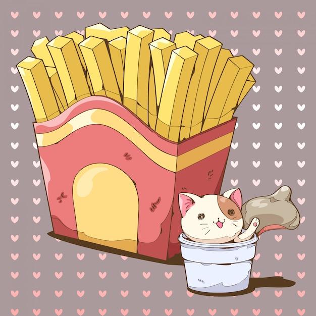 Papas fritas y dibujos animados de salsas con salsa de salpicaduras de gato. Vector Premium