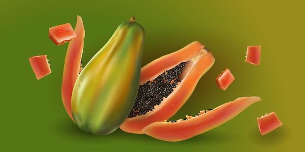 Papaya entera y en rodajas Vector Premium