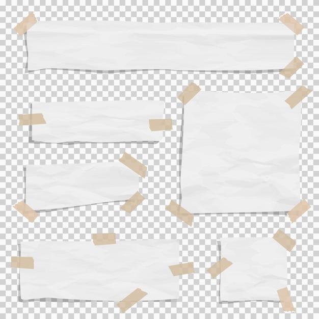 Papel blanco rasgado piezas de diferentes tamaños con grifo pegajoso. Vector Premium